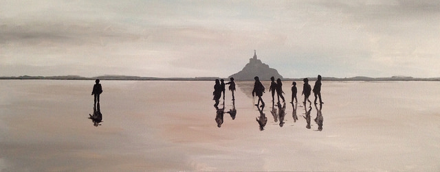 Mont Saint Michel Pilgrims. Acrylic on Canvas. 18x36. Rick Morley. 2014.