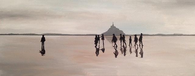 Mont Saint Michel Pilgrims. Acrylic on Canvas. 18x36. Rick Morley. 2014.